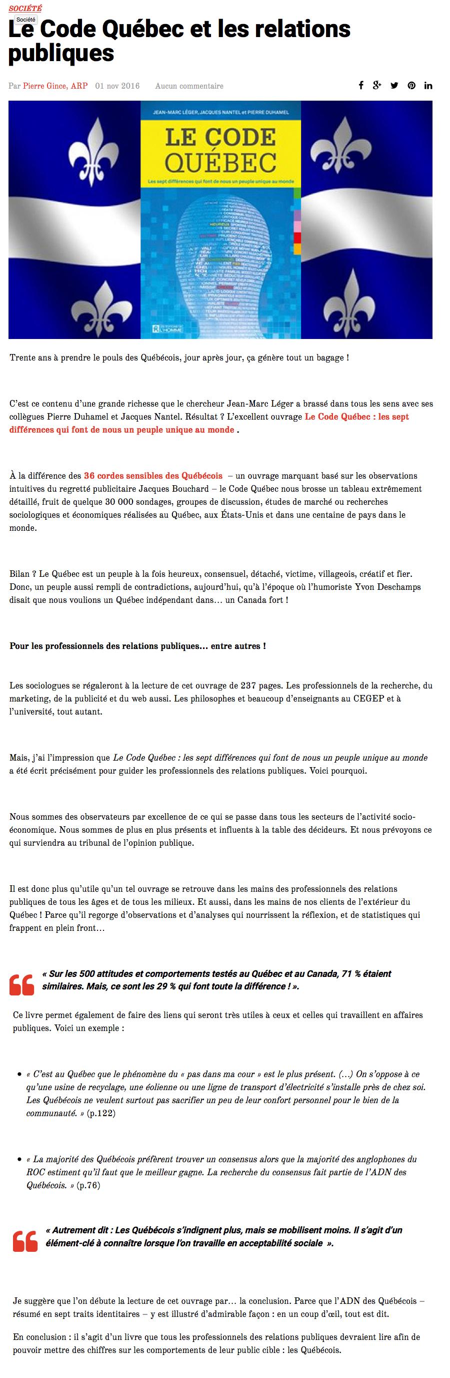 042e72c0725 Livre Le Code Québec - Les sept différences qui font de nous un ...