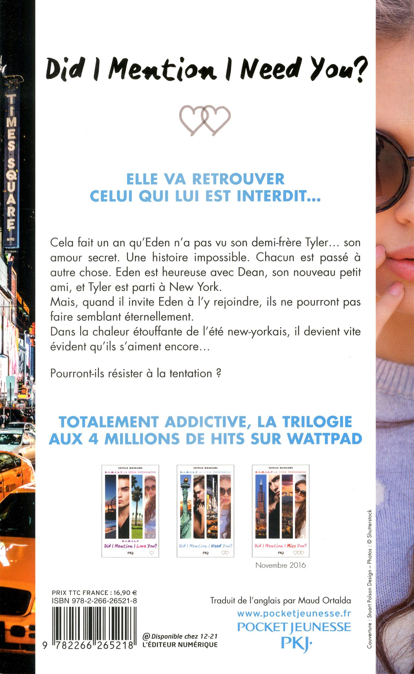 Did I Mention I Need You ? Estelle Maskame. 31,95 $. Agrandir · 4 de  couverture