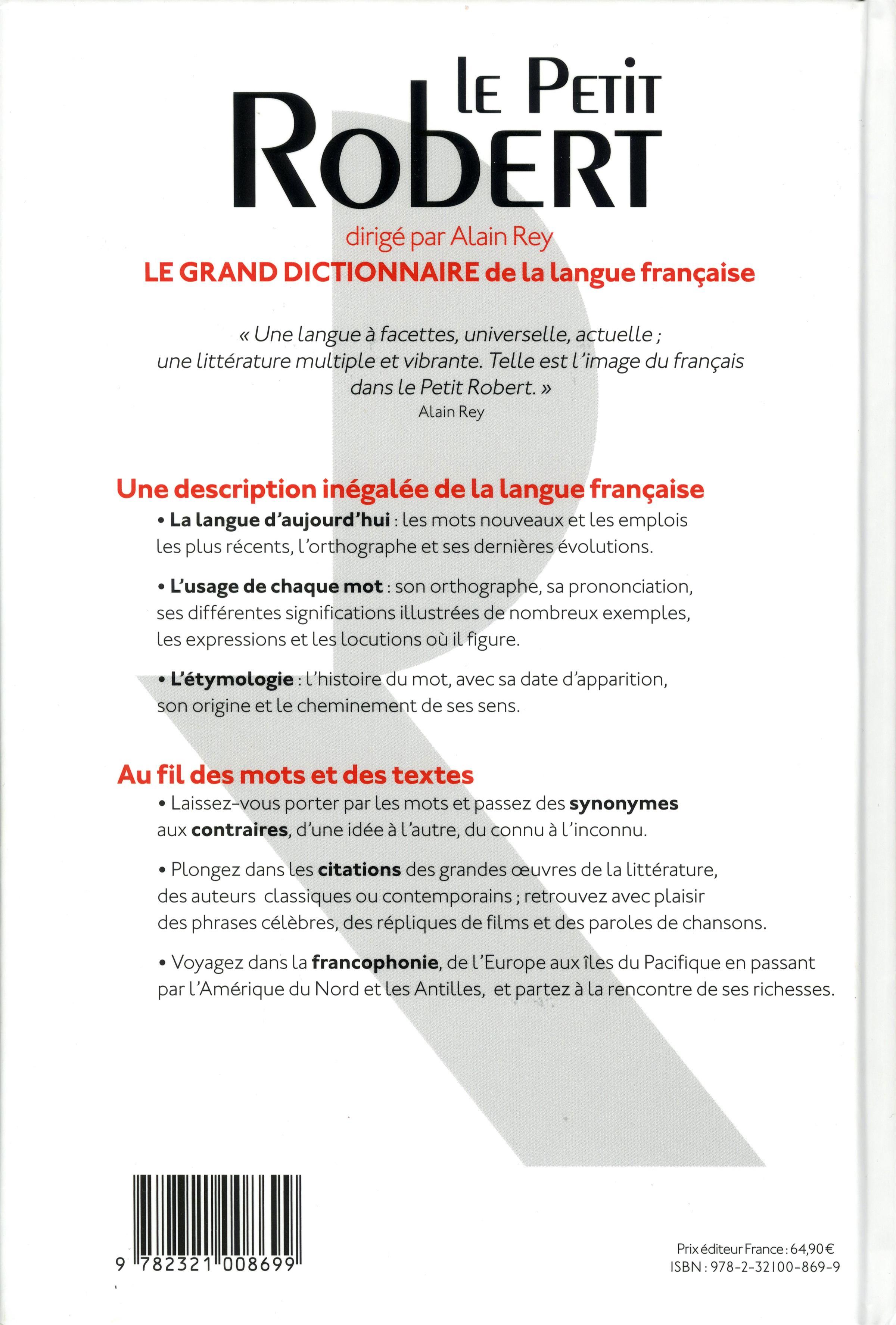 Livre le petit robert de la langue francaise 2017 cle - Office de la langue francaise dictionnaire ...