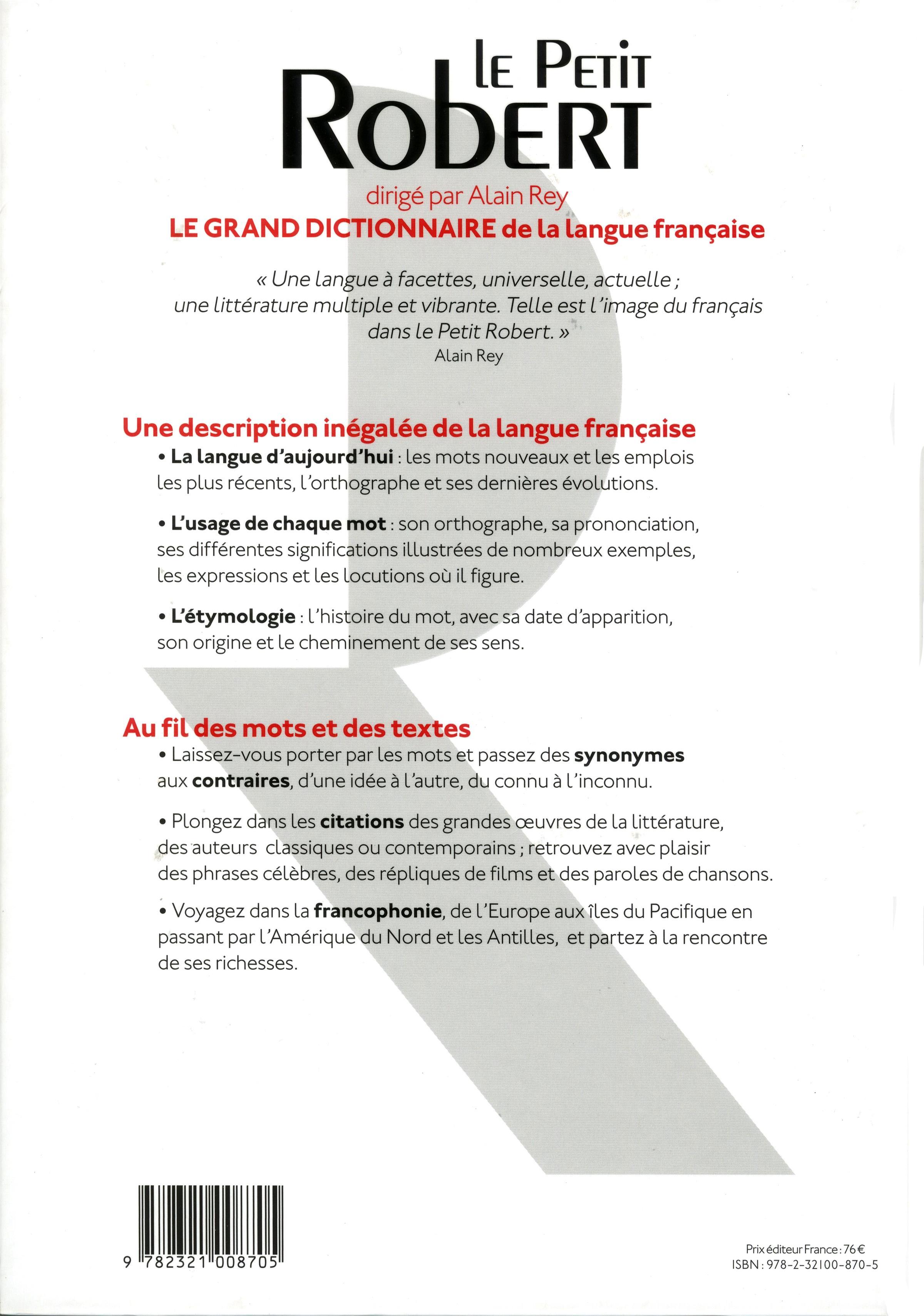 Livre le petit robert de la langue fran aise 2017 grand - Dictionnaire office de la langue francaise ...