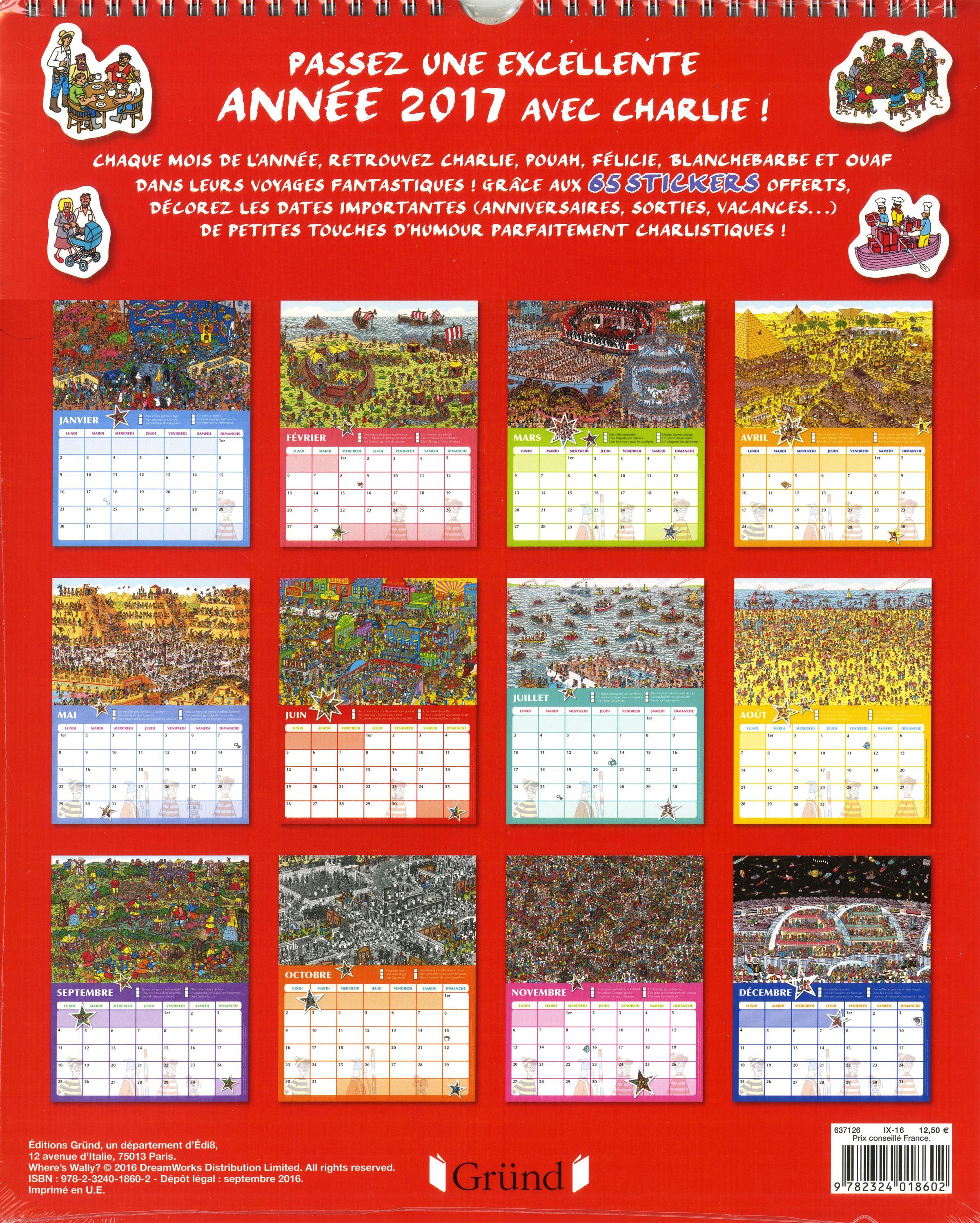 Livre o est charlie le grand calendrier 2017 for Grand calendrier mural 2017