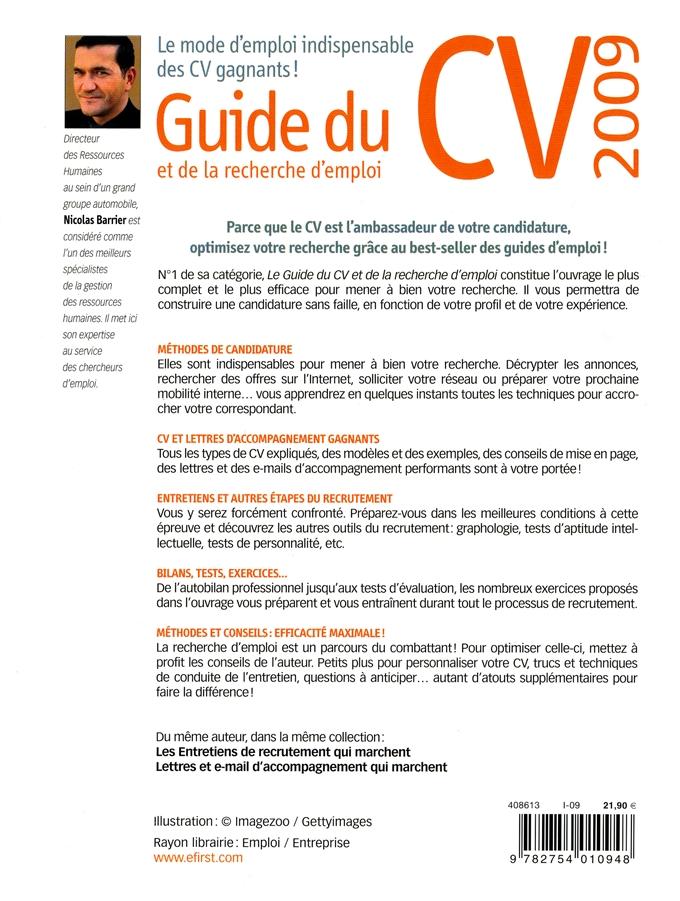 livre guide du cv   recherche emploi 2009