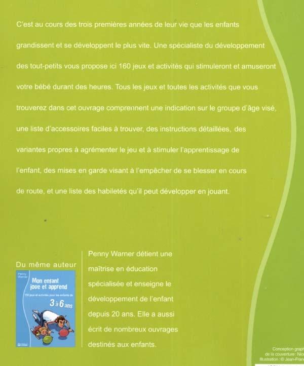 Exceptionnel Livre Bébé joue et apprend de 0 à 3 ans NC - 160 jeux et activités  DH01