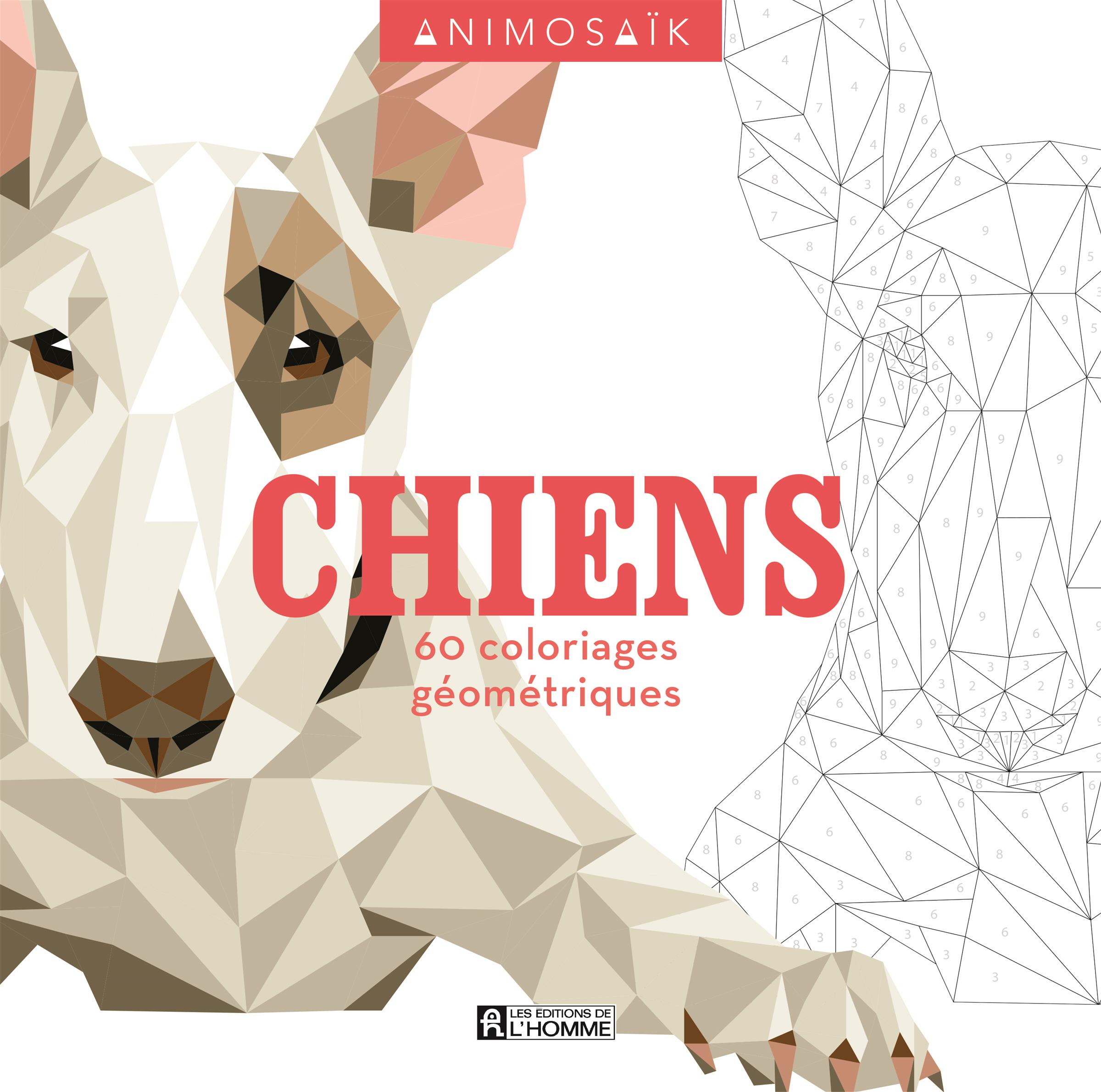 Livre Animosaïk   Chiens   40 coloriages géométriques   Les ...