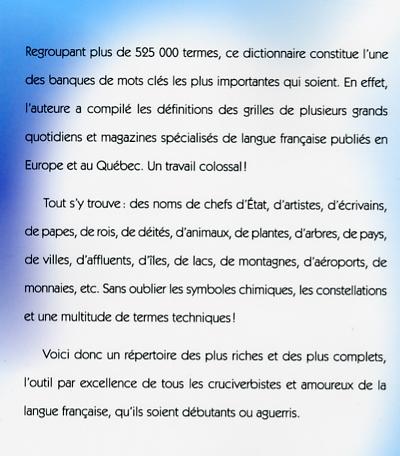 Livre dictionnaire des mots crois s plus de 525 000 mots - Office de la langue francaise dictionnaire ...