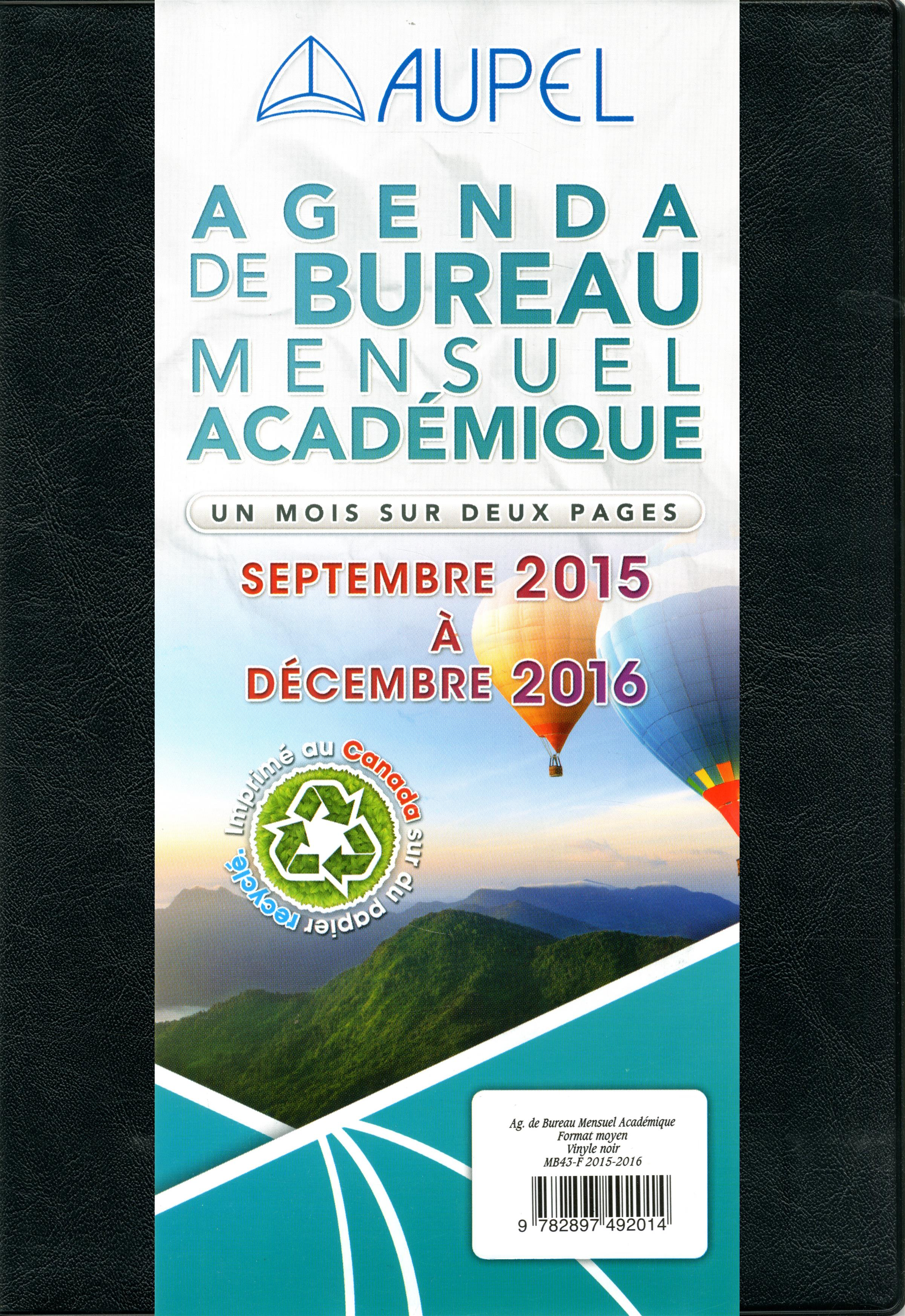 livre agenda de bureau mensuel acad mique 2015 2016 septembre 2015 d cembre 2016 format. Black Bedroom Furniture Sets. Home Design Ideas